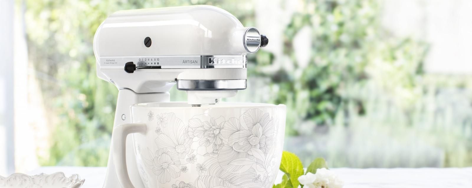 Batedeira KitchenAid Taça Padrão Floral Detalhe